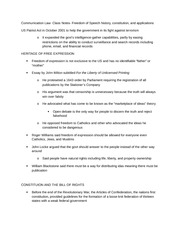 Communication Law- Class Notes- Freedom of Speech history, constitution, and applications