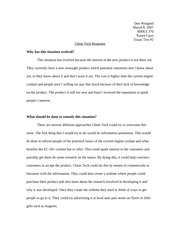 Chemical Technologies Response Essay