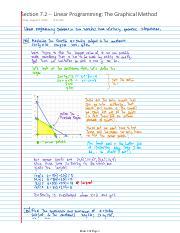 Lecture Notes -- Section 7.2 -- Linear Programming The Graphical Method