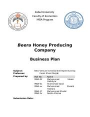 sample of honey bee business plan
