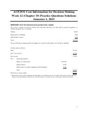 Week 12 (Chapter 19) Practice Questions Solutions