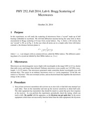 PHY 252, Fall 2014, Lab 6- Bragg Scattering of Microwaves