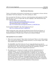 Global Poverty and Practice 115: The Poverty Business  Lecture Supplement 12