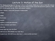 Lecture: Motion of the Sun