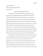 Essay on College Economics