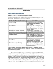 SCI275 Appendix E Water Resource Challenges