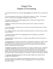 Chapter Two - Outputs of Accounting