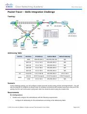 4.5.1.2 Packet Tracer - Skills Integration Challenge Instructions