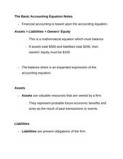 The Basic Accounting Equation Notes
