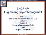 ENGR 474 Lecture 3 - Systems Development Cycle and Project Conception