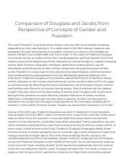 Comparison of Douglass and Jacobs from Perspective of Concepts of Gender and Freedom_ [Essay Example