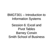 Session 6 BMGT301 - Spr 2012 - Quiz, Excel 1 - rev 1