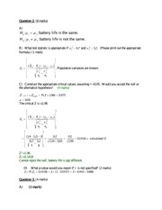 Econ 246 In Class Review Question Solutions