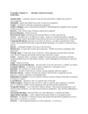 CHAPTER 10 Infection Control and Asepsis Vocab