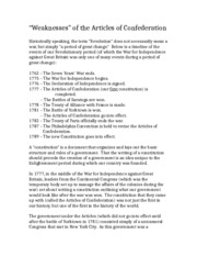 Notes - Weaknesses of the Articles of Confederation