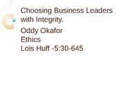 Choosing Business leaders with integrity powerpoint