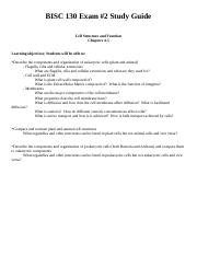 BISC130 - Exam #2 Study Guide.docx