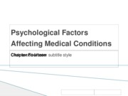 Psychological Factors Affecting Medical Conditions