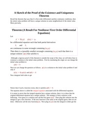 A Sketch of the Proof of the Existence and Uniqueness Theorem
