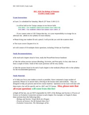 BSC1020_Spring2014_EXAM 2 Study Guide
