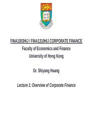 Lecture 1 Overview of Corporate Finance (updated) (1).pptx