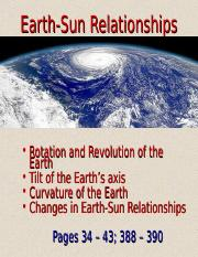 Lecture 3 - Earth-Sun Relationships (1.20.15)