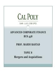 Topic8-Mergers and Acquisitions(1)