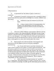 Class Notes on Reps warranties covenants and conditions Commercial K Writing (Fall 2013).doc