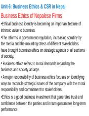 Unit 6 Business Ethics & CSR in Nepal.ppt