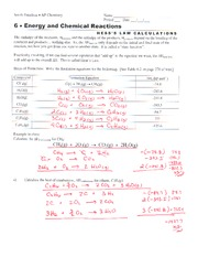 Hess Law worksheet FAU CHM 2046-Spring 2011