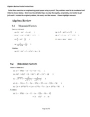 ALGEBRA REVIEW - Packet with Instructions - not answers