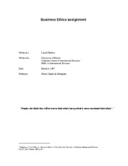 MBA Business Ethics Paper