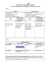 Realism Impressionism And The Modern World Docx Hum 100 Worksheet Realism Impressionism And The Modern World Part 1 Realism Impressionism Course Hero