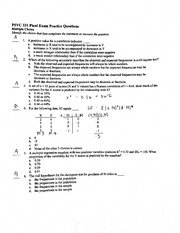 Psychology 331 Final Exam Practice Questions