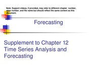Forecasting Lectures Parts I and II