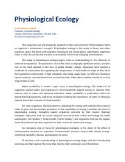 Physiological Ecology.docx
