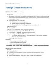 Ch 7 Study Guide - Foreign Direct Investment