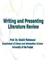 6-Writing and presenting literature review-Khalid.ppt