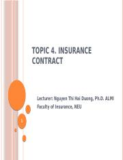 Topic 4 - Insurance Contract