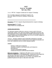 Course Syllabus - CPT 315 - Computer Architecture