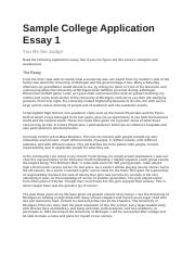 sample college application essay sample college application other related materials 2 pages sample college application essay 1