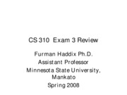 CS 310 Exam 3 Review