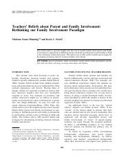 Teachers Beliefs about Parent and Family Involvement