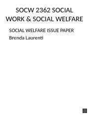 Laurenti, B SOCW 2362 SOCIAL WORK & SOCIAL WELFARE ISSUE PAPER.pptx