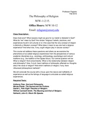PHIL 131 - Philosophy of Religion Fall 2013 Syllabus