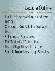 4-2 The 5-Step Hypothesis Testing Model for Single Samples