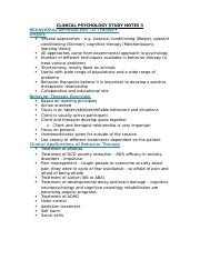 CLINICAL PSYCHOLOGY STUDY NOTES 3