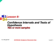 lesson9 - Confidence Intervals and Tests of Hypothesis (more than 1 sample)
