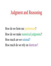Judgment and Reasoning