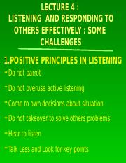 GET 1032 Lect 4 ( 2016) Enhancing Listening  Skills and Responding Effectively